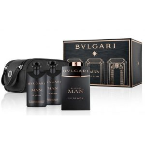 Bvlgari Man In Black (EDP 100ML+Shampoo & ShowerGel 75ML+A.S Balm75ML+Pouch)